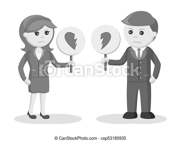Line Art Couple : Couple hands heart torn illustration of a ripping