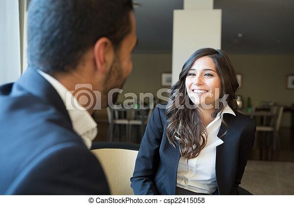 Business couple with tablet - csp22415058