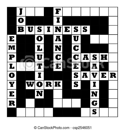 Business Crossword Puzzle Partially Filled With Motivational Words Isolated On White Background