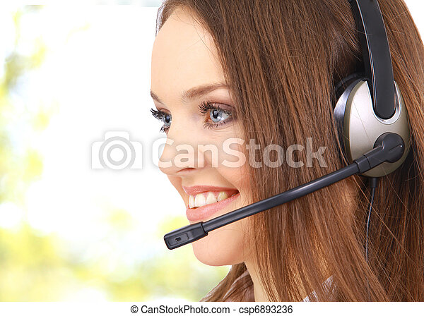 business customer support operator woman smiling - isolated - csp6893236