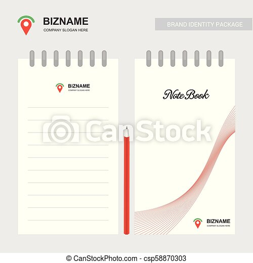 Business design notepad with company logo vector - csp58870303