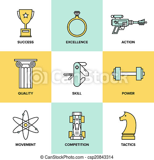 Business development skills flat icons set - csp20843314