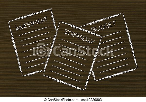 business documents: investment, strategy, budget - csp19229803