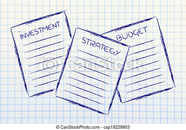 business documents: investment, strategy, budget - csp19229903
