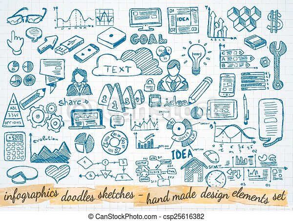Business doodles Sketch set : infographics elements isolated - csp25616382