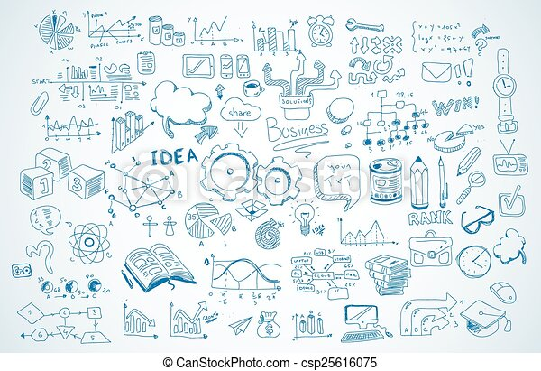 Business doodles Sketch set : infographics elements isolated, vector shapes. - csp25616075