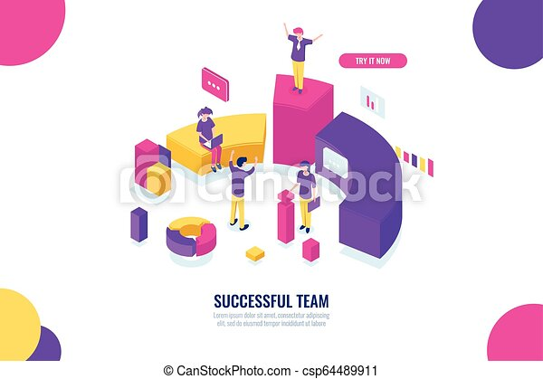 Business education and consultancy, success team work, leader and leadership isometric concept, data analysis and statistics, flat color vector - csp64489911