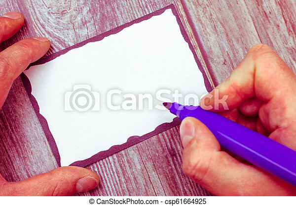 Business Empty template for Layout for invitation greeting card promotion poster voucher Huanalysis Hand Holding Marker Pen Writing on Blank Index Sized White Paper - csp61664925