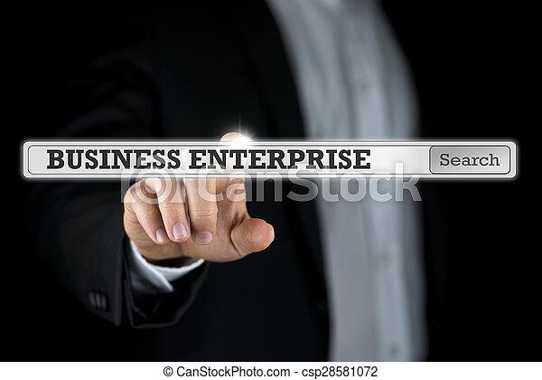 Business enterprise written in a navigation bar on a virtual interface - csp28581072