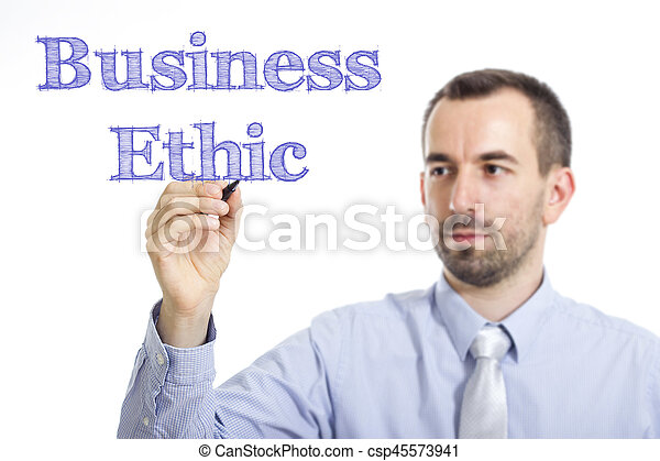 Business Ethic - Young businessman writing blue text on transparent surface - csp45573941
