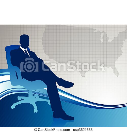 Business executive on US map background - csp3621583