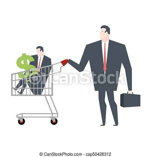 Business Family In Store Go Shopping Manager Cart Vector Illustration