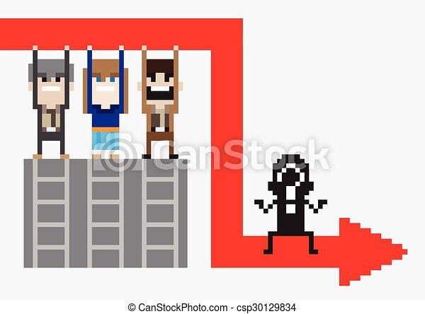 business, femme affaires, caractère, baston, homme affaires, crisis., associé, design. - csp30129834
