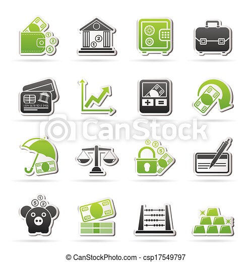 Business, finance and bank icons - csp17549797