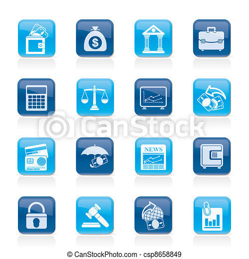 Business, finance and bank icons - csp8658849