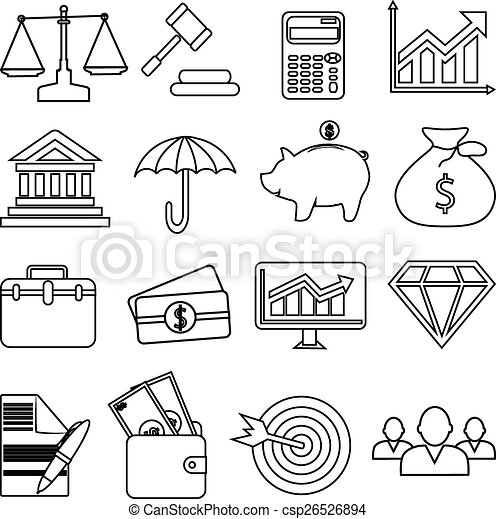 business finance icons set - csp26526894