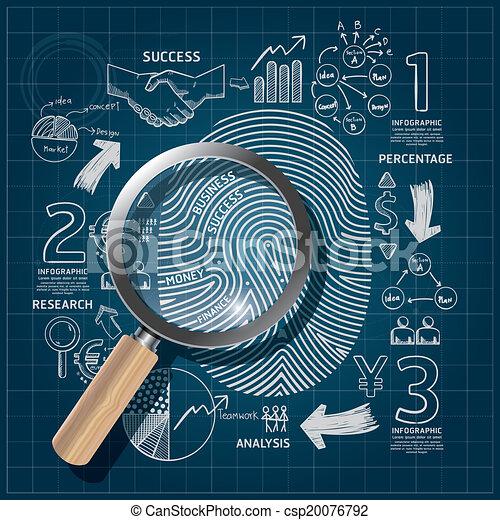 Business Fingerprint doodles line drawing blueprint success strategy plan idea with magnifier.Vector illustration.Focus Success Concept. - csp20076792