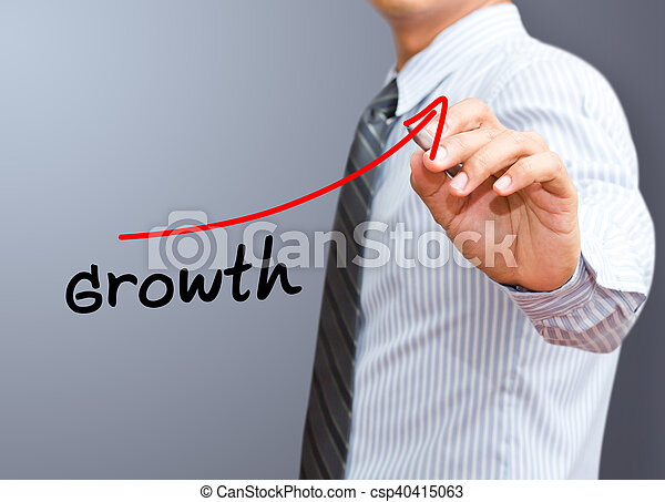 business, flèche, croissance, homme affaires, levée, représenter, dessin - csp40415063