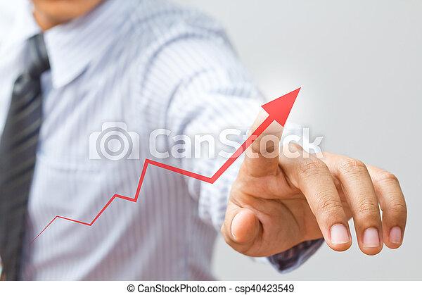 business, flèche, croissance, homme affaires, levée, représenter, dessin - csp40423549