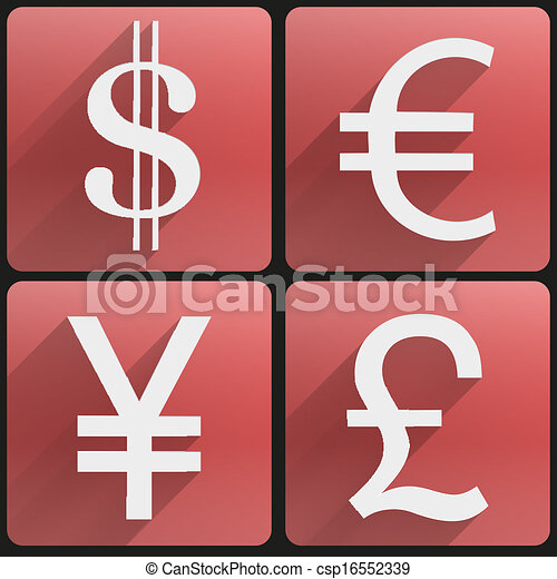 Business Flat Icons Major Currencies Symbol Currency Icons Symbol
