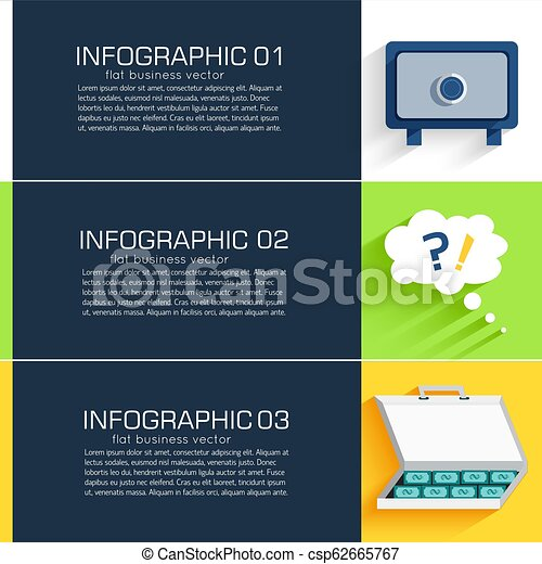 Business flat infographic template banners with text fields. Vector Illustration - csp62665767