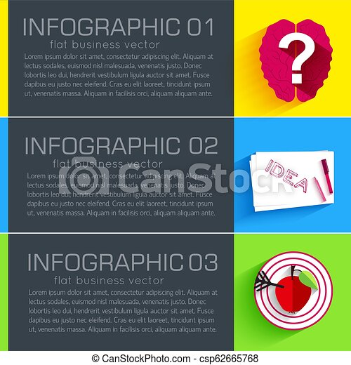 Business flat infographic template banners with text fields. Vector Illustration - csp62665768