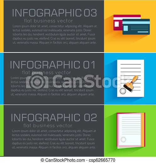 Business flat infographic template banners with text fields. Vector Illustration - csp62665770