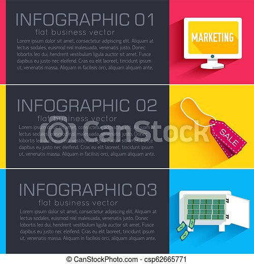 Business flat infographic template banners with text fields. Vector Illustration - csp62665771