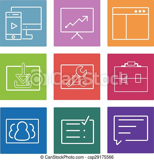 Business flat line icons set. Web and mobile interface design elements. Vector Illustration. - csp29175566