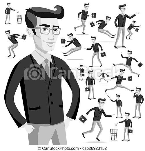 business flat web infographic vector grey men people - csp26923152