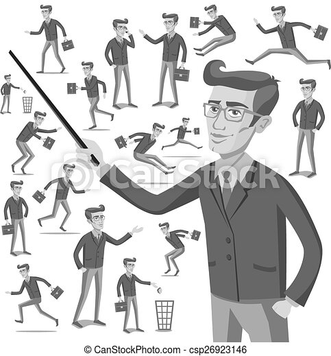 business flat web infographic vector grey men people - csp26923146