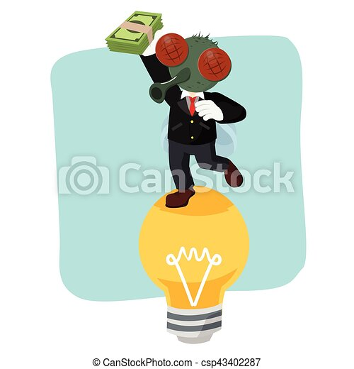 business fly on bulb holding money - csp43402287