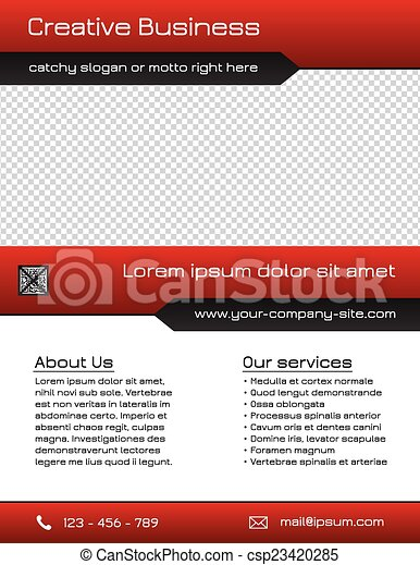 Business flyer template - red - csp23420285