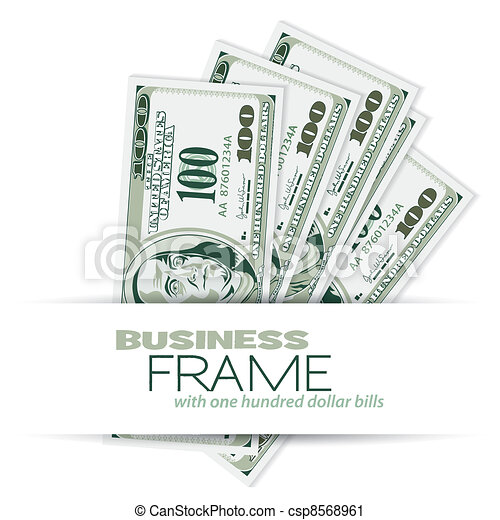 Business frame with dollar bills, template for design.