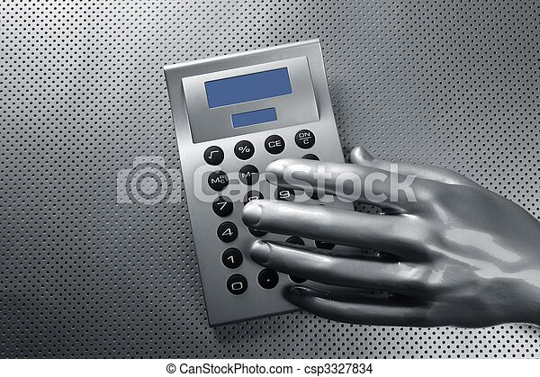 business futuristic silver hand calculator  - csp3327834