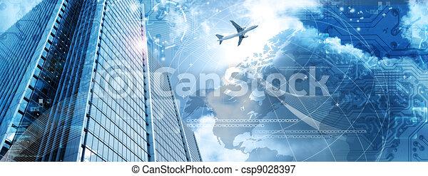 Business futuristic skyscraper banner - csp9028397