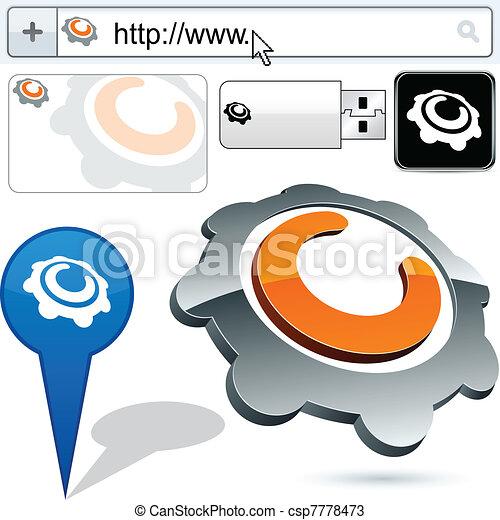 Business gear abstract logo design. - csp7778473
