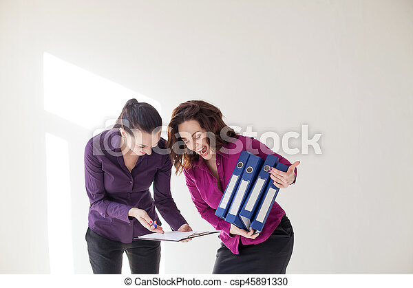 business girl with folders with documents - csp45891330