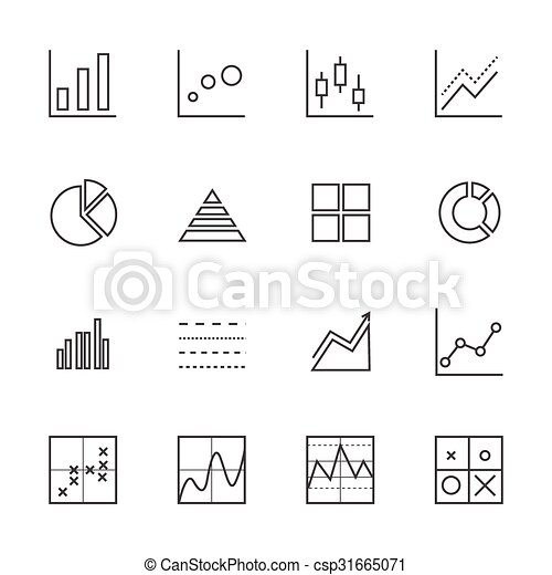 Business Graph icon set. Line icons - csp31665071