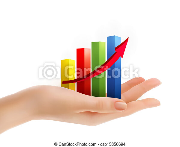 Business graph in hand. Vector. - csp15856694