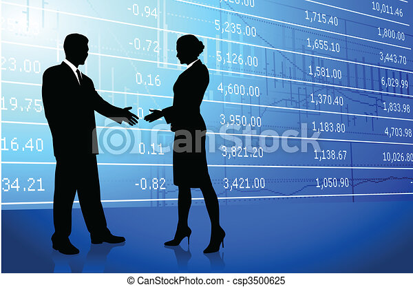 Business greeting background with stock market data - csp3500625