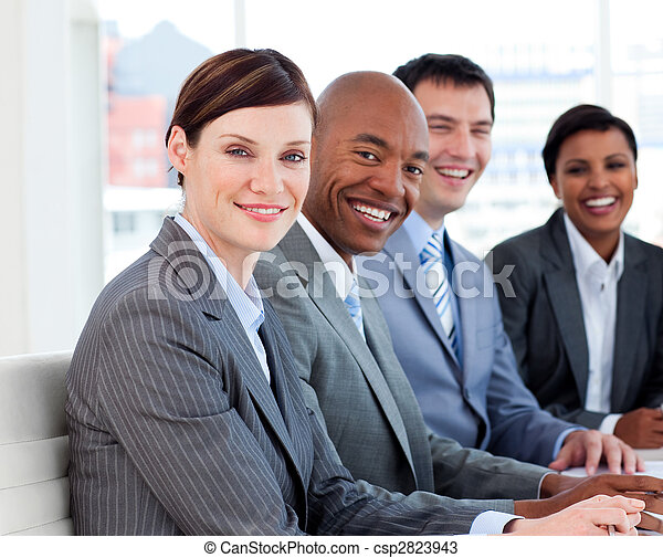 Business group showing ethnic diversity in a meeting - csp2823943