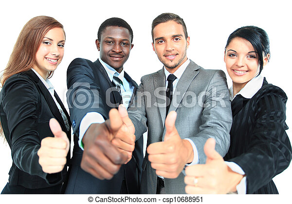 Business group with thumbs up isolated over white background - csp10688951