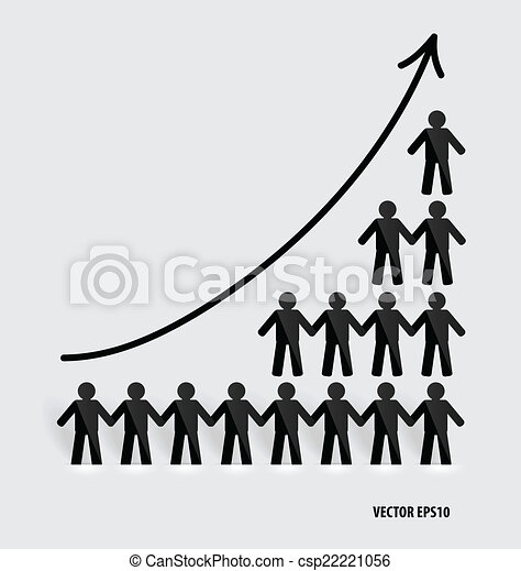 Business growing graph with businessman. Vector illustration. - csp22221056