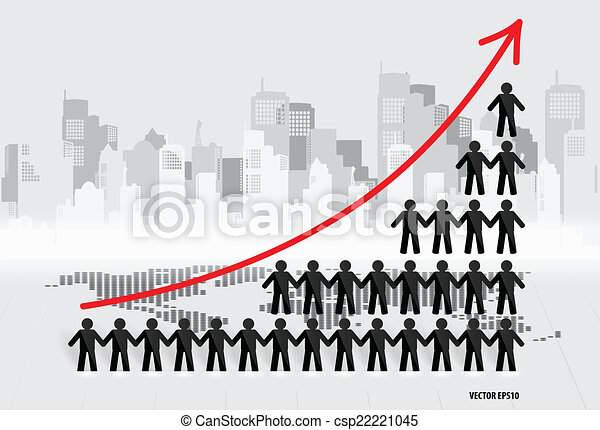 Business growing graph with businessman. Vector illustration. - csp22221045