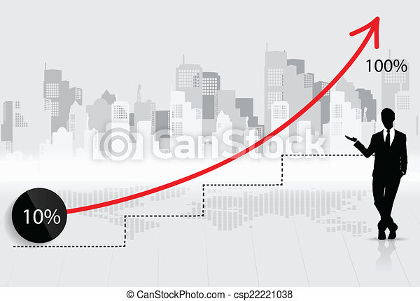 Business growing graph with businessman. Vector illustration. - csp22221038