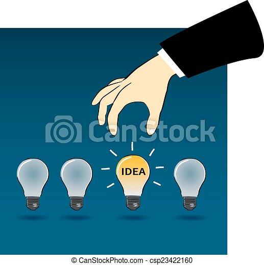 Business hand choose idea light bulb clip art vector ...