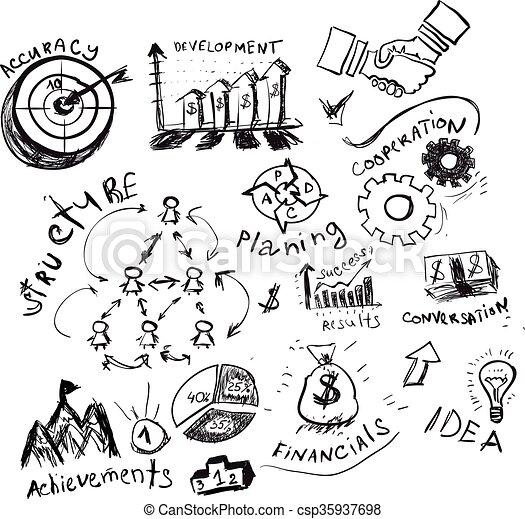 Business hand drawn symbols. - csp35937698