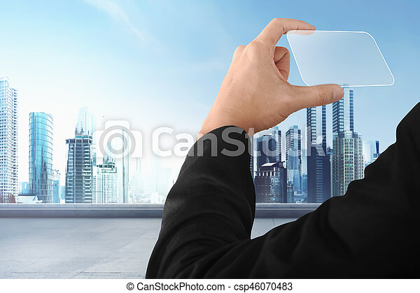 Business hand holding futuristic business card with modern city business hand holding futuristic business card csp46070483 colourmoves