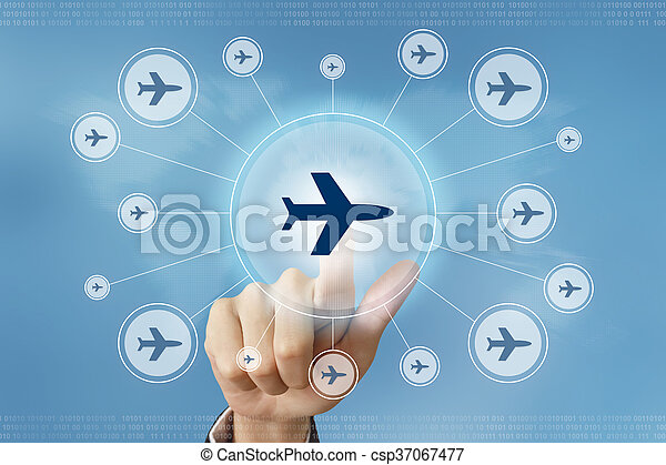 business hand press flight trip button - csp37067477